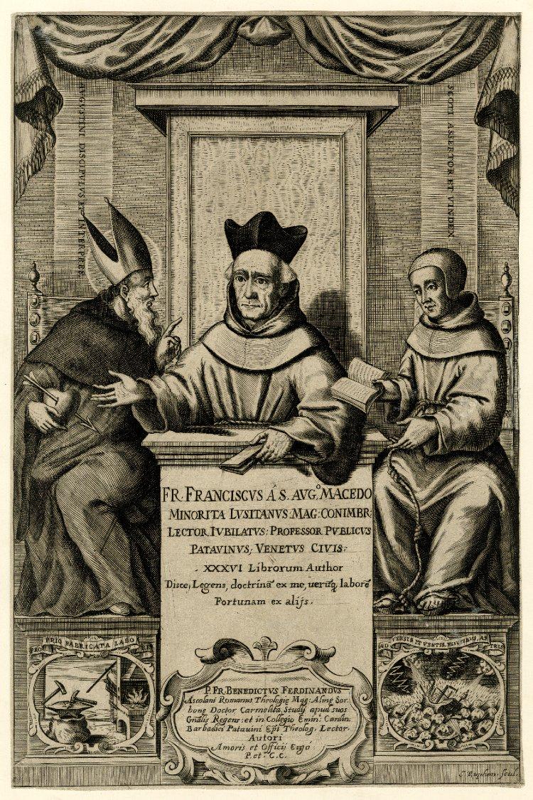Padre Macedo raffigurato insieme a Sant'Agostino e a Duns Scoto. Incisione dell'artista padovano Jacopo Ruffoni,1665-1680